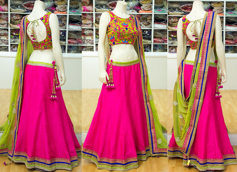 Pink and Parrot Green New Lehenga Choli Shopping Online