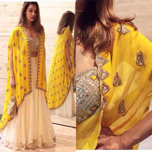 Yellow Cape Style Bollywood Lengha Choli ,Indian Dresses - 1