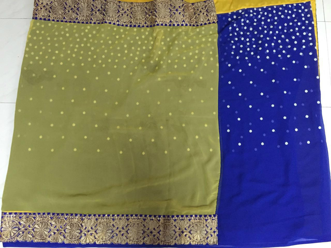 Glam Yellow Blue Georgette Designer Bollywood Saree ,Indian Dresses - 3