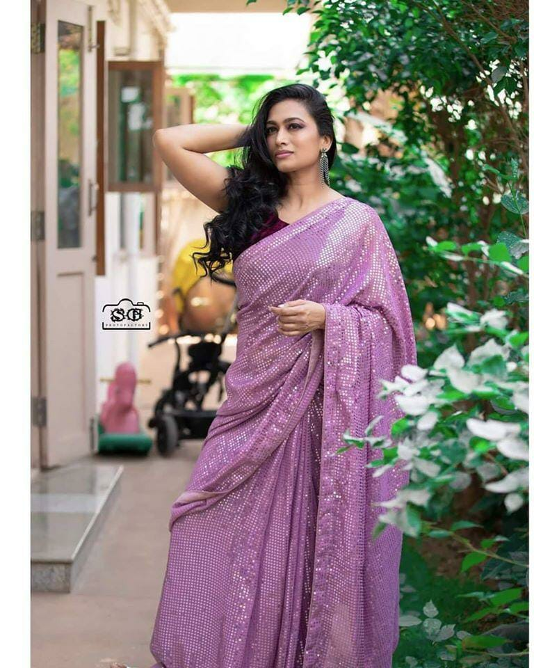 Lavender Georgette Sequins Latest Party Saree Online