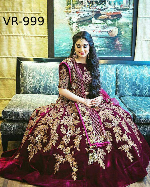 Wine Color Velvet Embroidered Party Wear Lehenga Designs Online