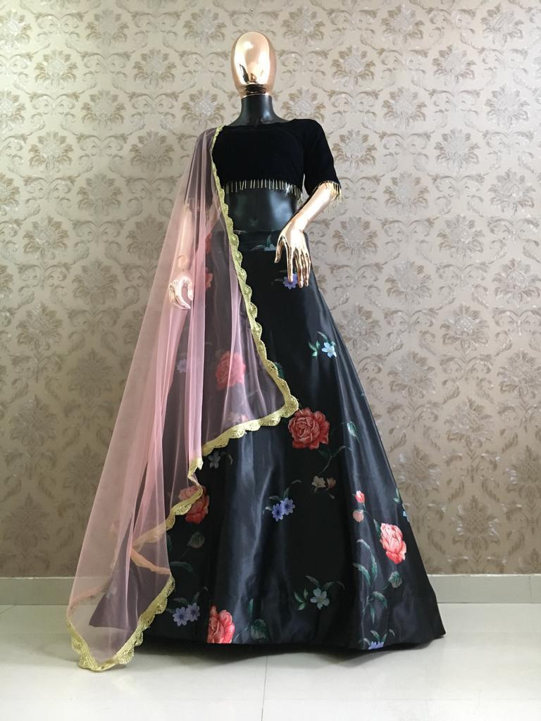 Black Satin Digital Print Latest Ghagra Dress Designs Online