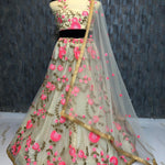 Cream Net Embroidered New Party Lehenga Choli With Price