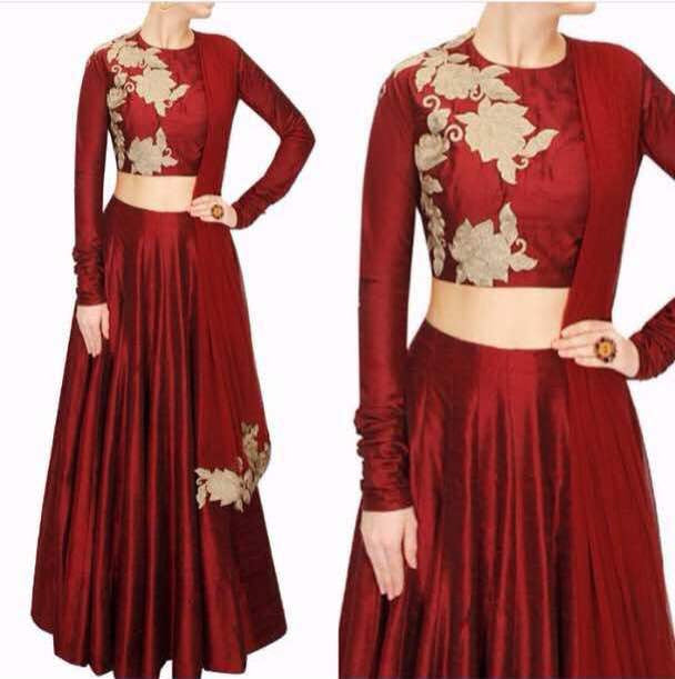 Maroon Raw Silk Indian Lehenga Choli Online Replica
