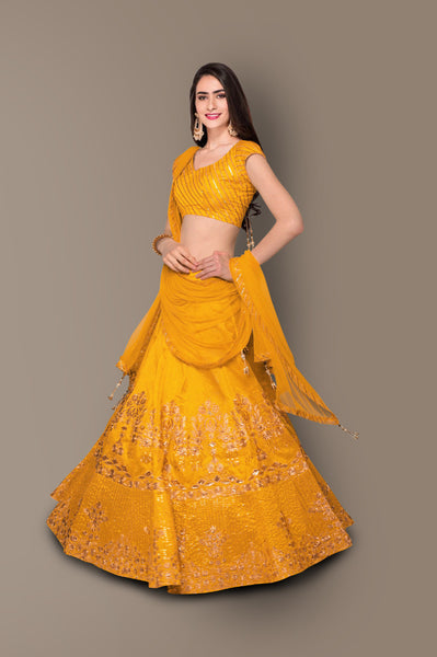 Mustard Yellow Embroidered Silk Party Wear Ladies Lehenga Dress