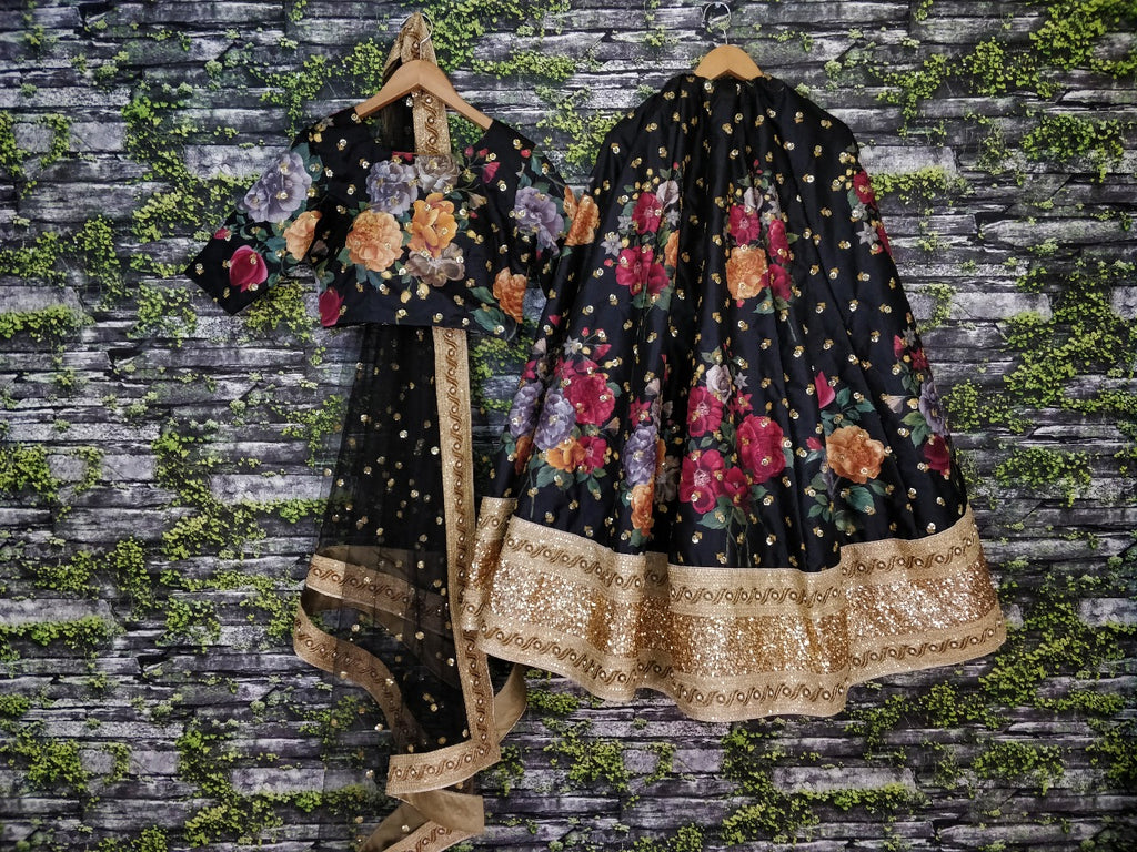 Black Floral Digital Print Lehenga Choli Indian Fashion Online Shopping
