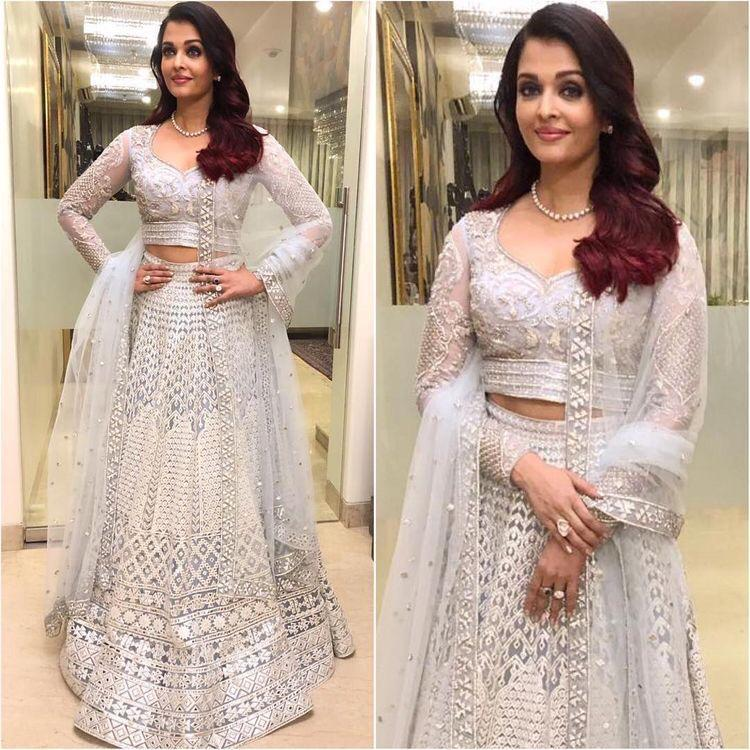 Aishwarya Rai White Net Embroidered Lehenga Choli Replica Online Shopping