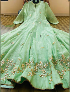 Light Green Chanderi Gota Work Anarkali Style Gown Online Shopping
