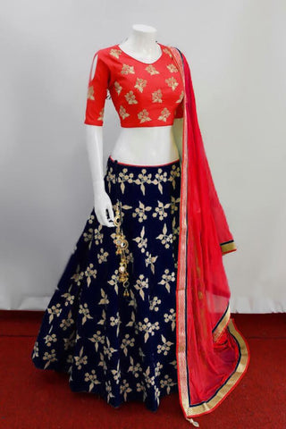 Navy Blue Silk Embroidery Latest Party Wear Lehnga Dresses India Online