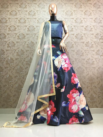 Black Satin Flower Printed Lehenga At Low Price