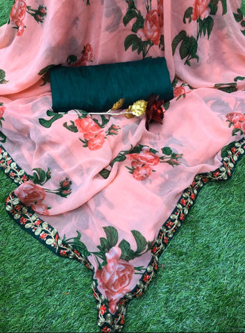 Pink Georgette Floral Printed Sarees Shopping Indian Clothes Online