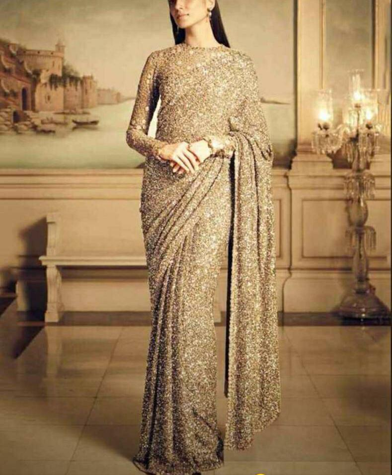 Latest Gold Georgette Sequins sarees Online