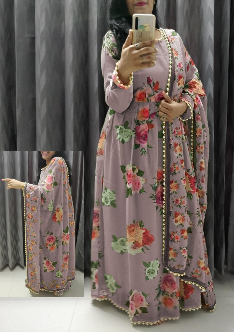 Dusty Rose Georgette Floral Print Gown Style Latest Salwar Kurta Dress
