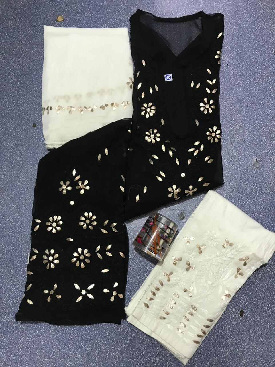 Black Chikankari Kurti 3 pc set Georgette Gota patti Combo