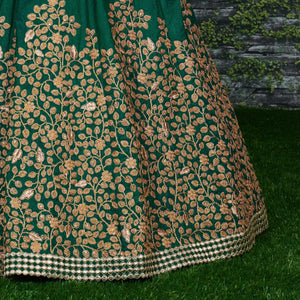 Dark Green Pure Silk Embroidered Wedding Choli Design For Lehenga