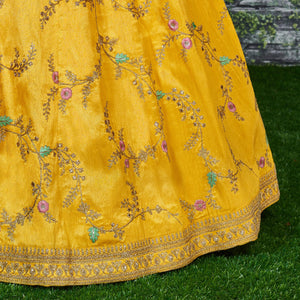 Yellow Silk Embroidered Wedding Wear Online Lehenga Shopping Sites