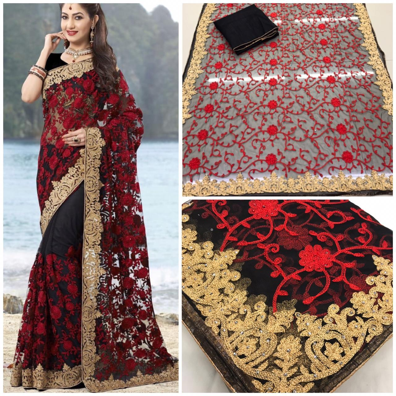 Black Embroidered Net Party Wear Designer Sarees For Women