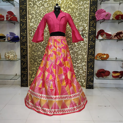 Pink Digital Print Taffeta Silk Indo Western Lehenga Crop Top Buy Online