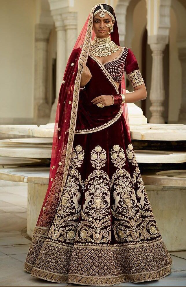 Gulkand Maroon Velvet Bollywood Fashion Indian Wedding Dresses