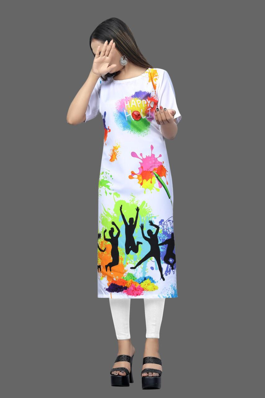 White Crepe Digital Print Holi Festival Outfits & Dresses
