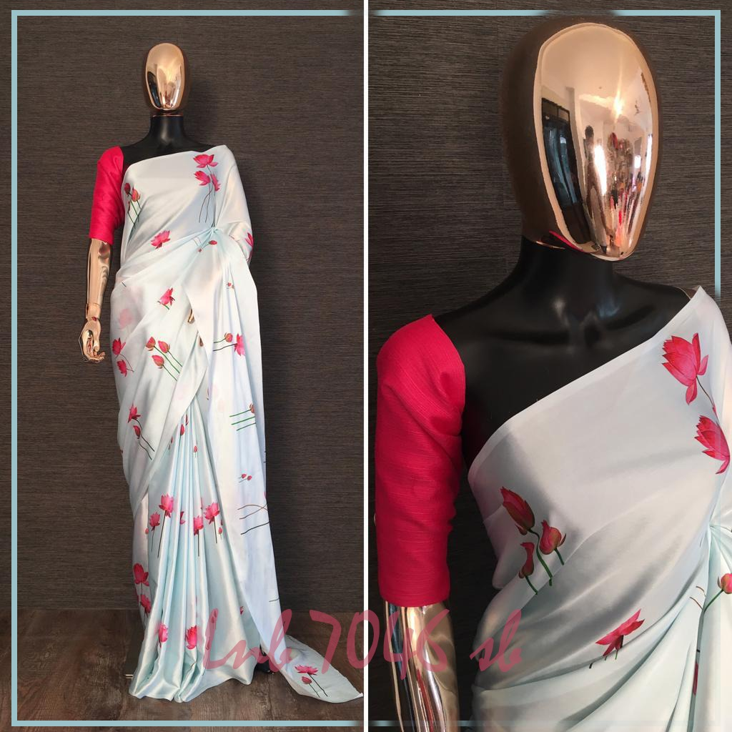 White Floral Printed Beautiful Ladies Saree Online Shopping