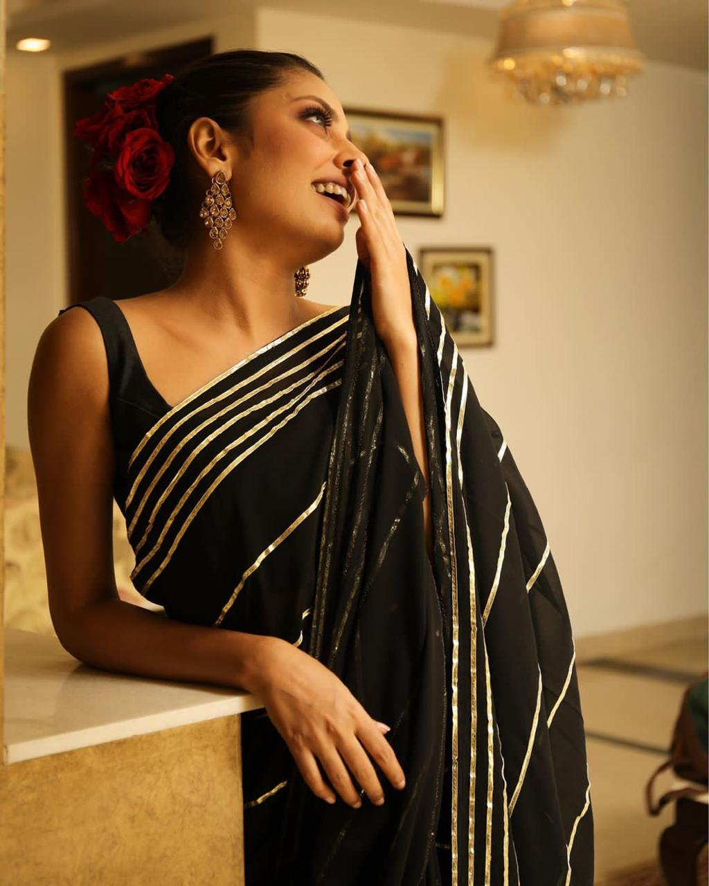 Black Georgette Fancy Designs Saree Online With Price