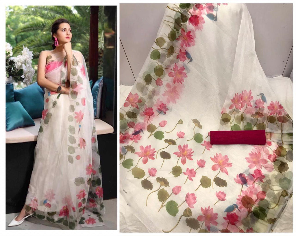 White Green Leaf Floral Digital Printed Latest Organza Saree and Blouse Set