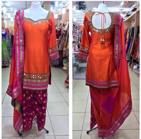 Orange Bollywood Indian Salwar Kurta