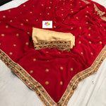 Deep Red Marble Georgette Fancy Beautiful Saree Online Shopping