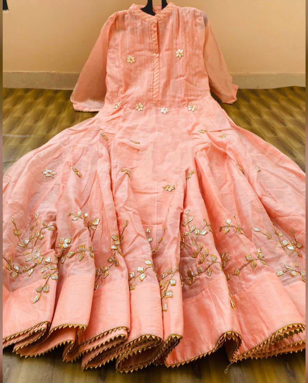 Peach Chanderi Gota Work Long Anarkali Style Gown Indian Dresses