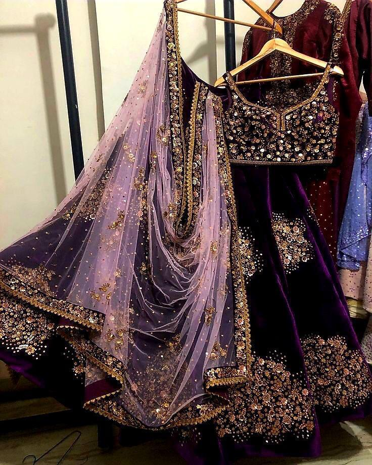 Purple Viscose Embroidered Latest Fashion Lehenga Choli