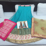 Firozi And Beige Net Online Shopping For Lehengas