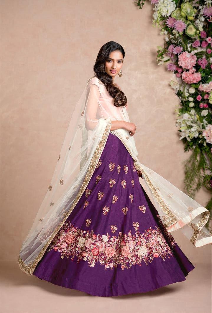 Purple Silk Embroidery Bollywood Wedding Lehengas