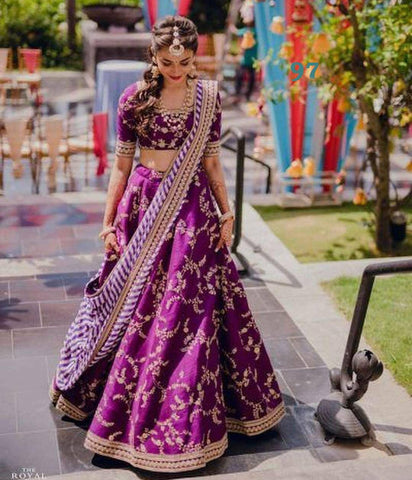 Purple Banglori Silk Embroidered Beautiful Lehenga Online Shopping