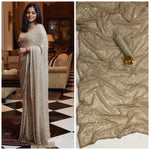 Chiku Bollywood Sequins Saree in Georgette with Plain Silk Blouse