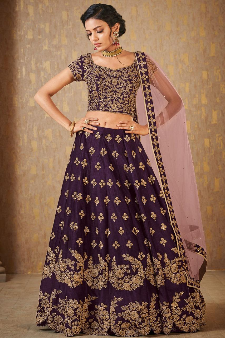 Wine Color Banarasi Embroidered Latest Wedding Lehenga Designs 2019