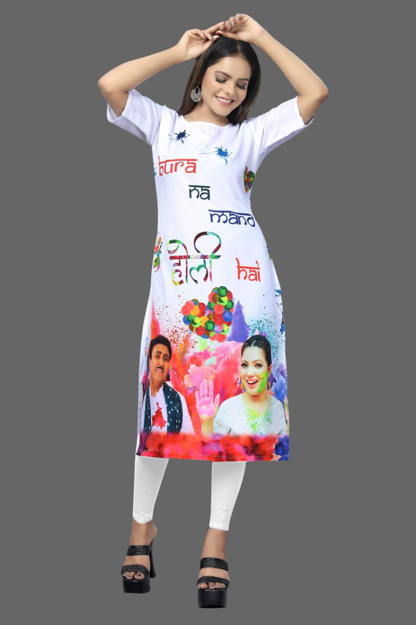 White Crepe Digital Print Trendy Outfit Holi 2021