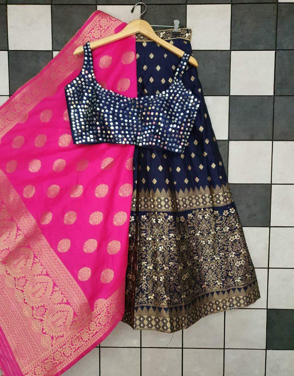 Navy Blue Banarasi Paired With Matching Blue Blouse Lehenga Online Shopping