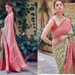 Alia Bhatt Pink Green Zari Silk Latest Indian Saree Online Shop
