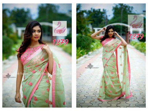 Beautiful Mint Green Georgette Embroidered Latest Indian Saree Fashion