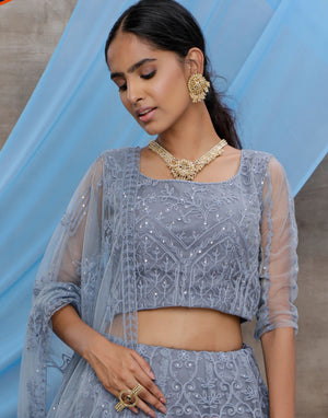 Grey Embroidered Net Lehengas Choli Dresses India Online