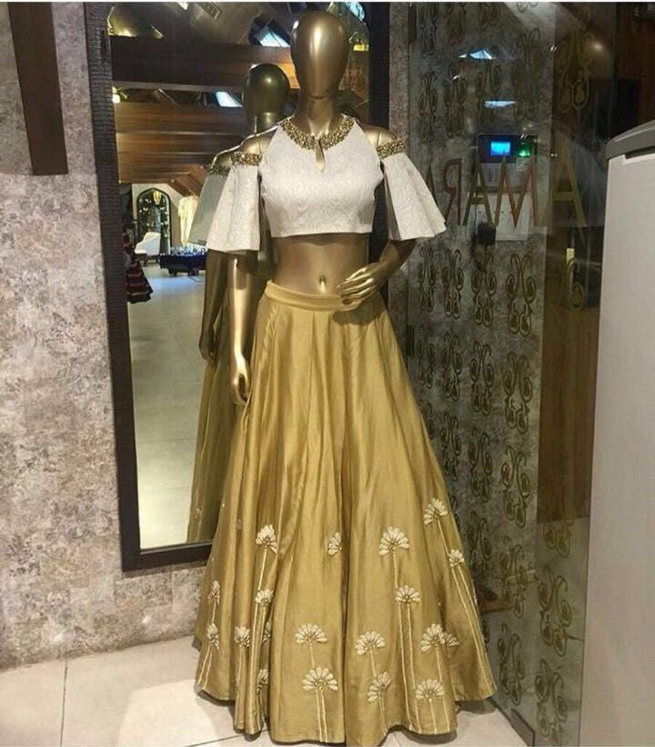 Gold And White Bollywood Lehengas Collection ,Indian Dresses - 1