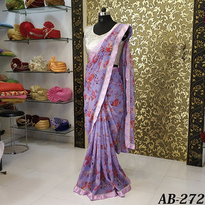 Shilpa Shetty Lavender Georgette Floral Print Saree Blouse Online Shopping