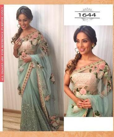 Bipasha Basu Mint Green Net Bollywood Replicas Sarees