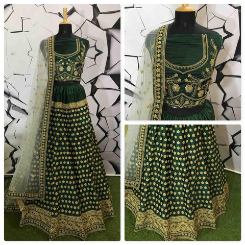 Embroidered Green Nylon Satin Latest Designer Wedding Lehengas Online
