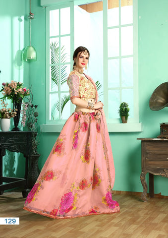 Pink Organza Floral Printed With Swarovski New Lehenga Choli Online Buy