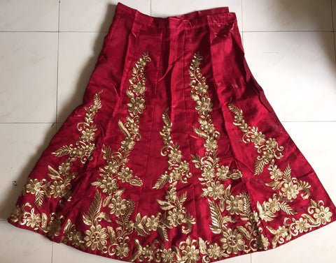 Red Silk Velvet Bridal Lehenga Choli at Indian Dresses ,Indian Dresses - 2
