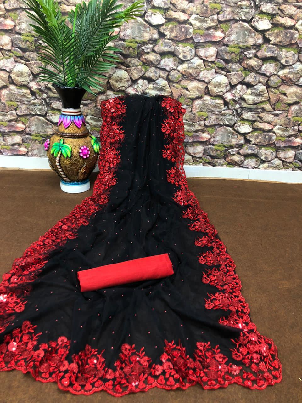 Black and Red Embroidered Lace Border Fancy Saree Designs Online
