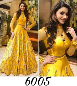 Urvashi Rautela Yellow Banglori Silk Bollywood Replica Latest Lehenga Styles