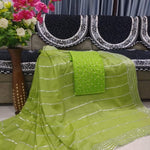 Light Green Georgette Fancy Party Saree Purchase Online